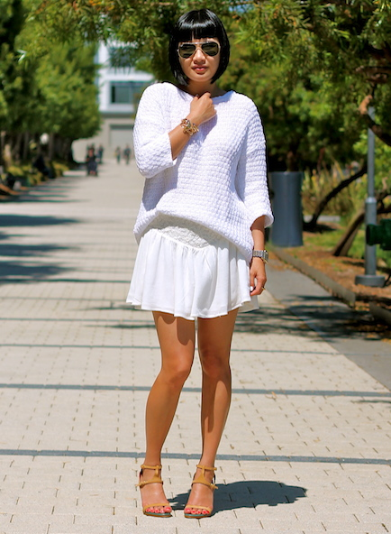 Zara sweater,  Naive Nation skirt, Chloe shoes, Ray-Ban sunglasses