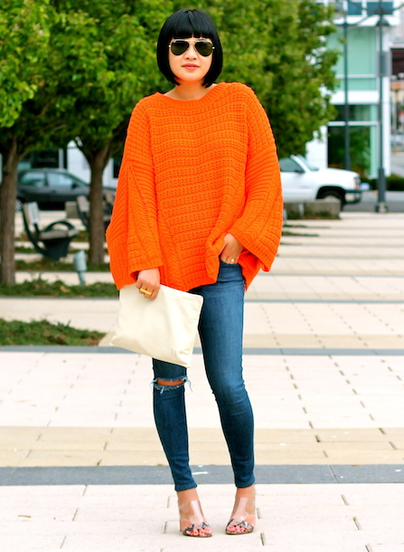 Zara sweater ,  Joe's jeans ,  Guess shoes ,  Mark and Graham bag ,  Ray-Ban sunglasses