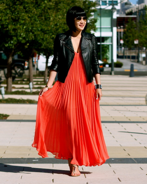BCBG dress ,  Club Monaco leather jacket , Coach sandals,  Ray-Ban sunglasses