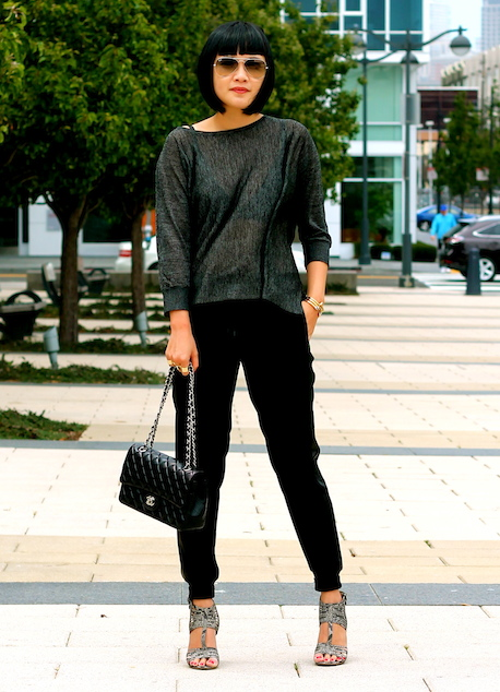 Club Monaco sweater ,  Vince pants , Nine West shoes,  Ray-Ban sunglasses , Chanel bag
