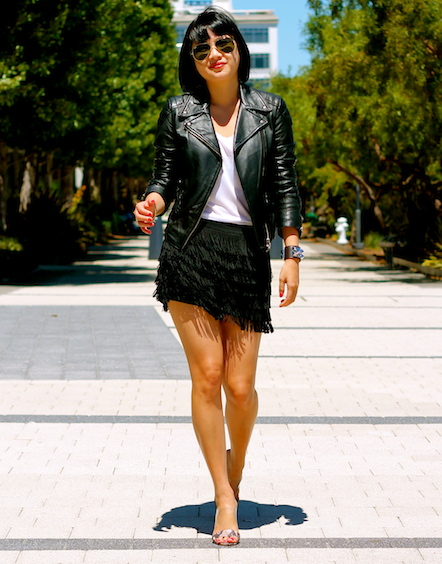 Club Monaco shorts and jacket, Guess shoes, Ray-Ban sunglasses