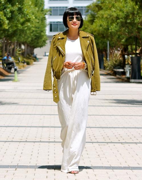 Addison dressc/o Addison, Club Monaco jacket, Guess shoes, Ray-Ban sunglasses