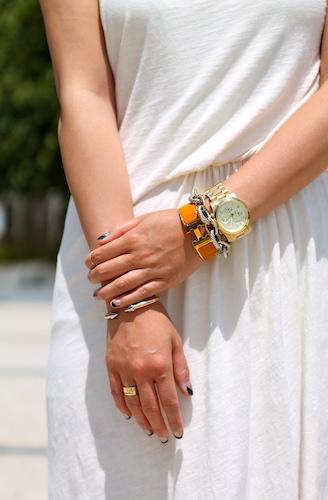 Vita Fede, Hermes and David Yurman, bracelets, Michael Kors watch, Cartier and Brandy Pham rings