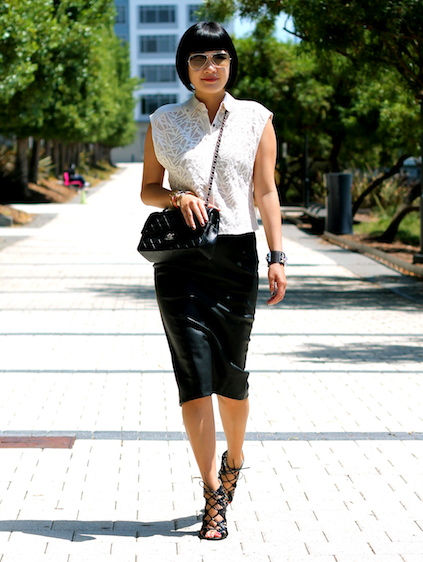 Addison top c/o Addison, Zara skirt, Prabal Gurung x Target shoes, Ray-Ban sunglasses, Chanel bag