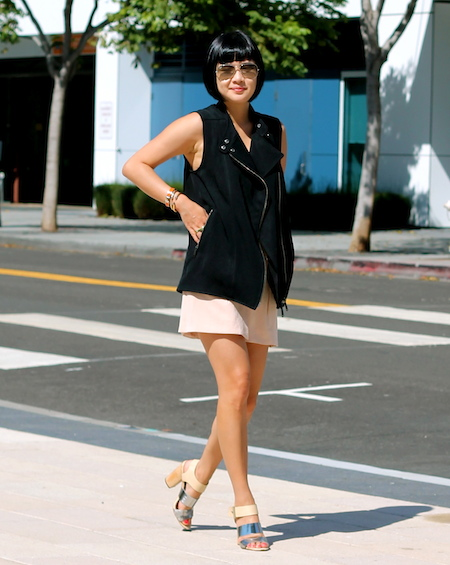 Club Monaco shorts/skirt and vest, Sam Edelman shoes, Ray-Ban sunglasses