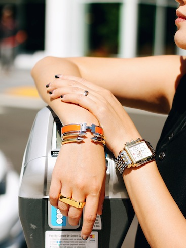Erica Anenberg ring ,  Michele watch , Hermes and  Vita Fede  bracelets
