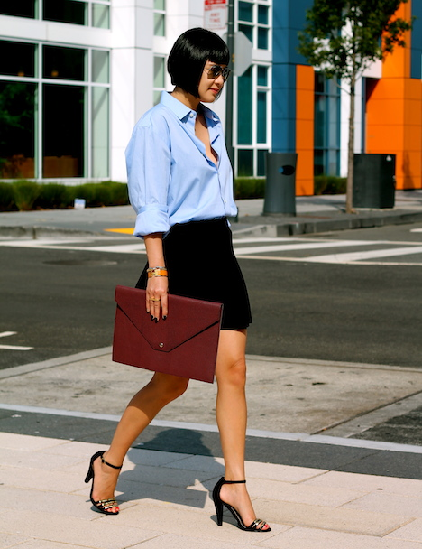 Banana Republic shirt, Club Monaco skirt, Audrey Brooke shoes c/o DSW, Ralph Lauren portfolio, Ray-Ban sunglasses