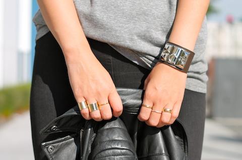 Hermes bracelet, Maison Martin Margiela and Stella and Dot rings