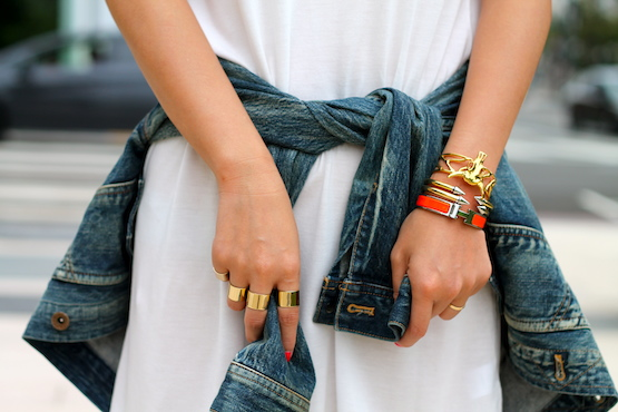 Maison Martin Margiela rings, Hermes, Vita Fede and Svelte Metals bracelets