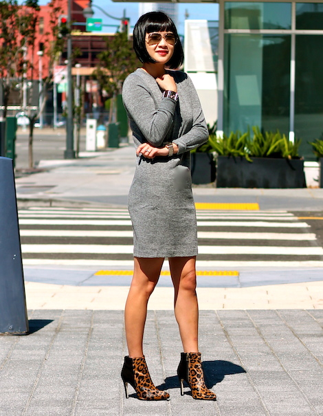 Club Monaco dress and booties, Ray-Ban sunglasses