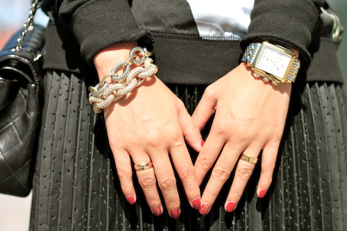 Jcrew, David Yurman bracelets, Michele watch, Cartier ring