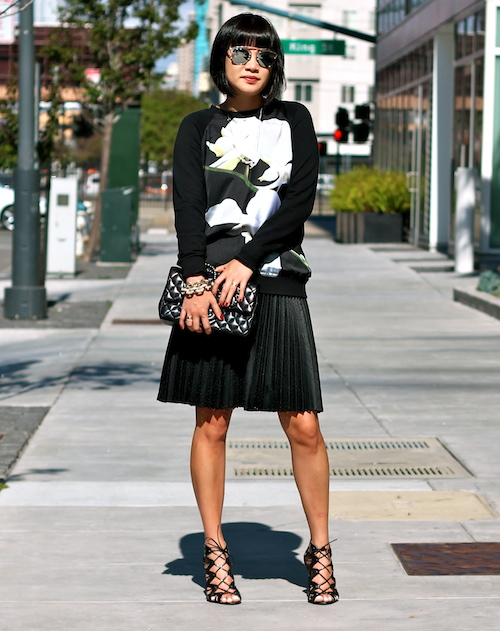Altuzarra x Target sweater ,  Club Monaco skirt,  Prabal Gurung x Target shoes, Chanel bag,  Dior sunglasses