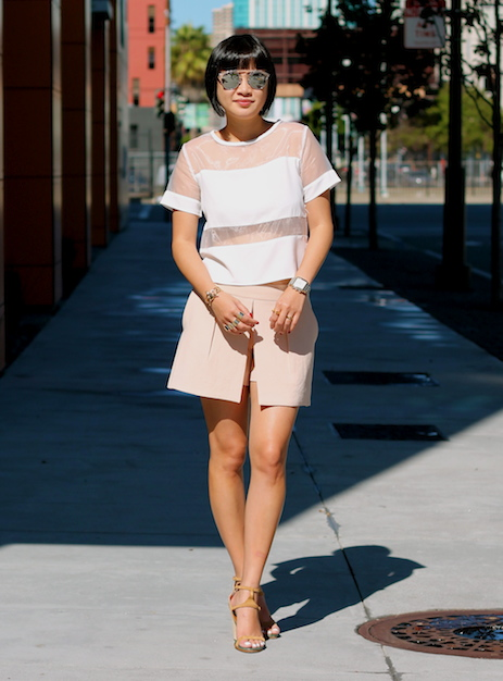 Top c/o Missguided ,  Club Monaco skirt , Chloe shoes,  Dior sunglasses
