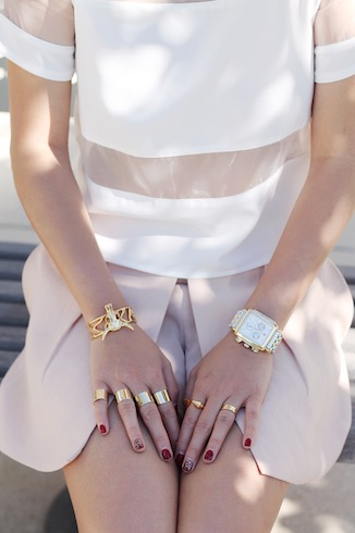 Svelte Metals bracelet ,    Maison Martin Margiela ,  Vita Fede  and Cartier rings,  Michele watch