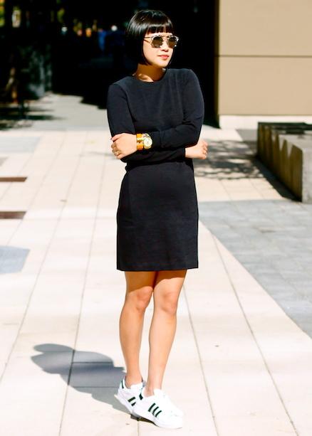 Club Monaco dress, Adidas shoes, Dior sunglasses,