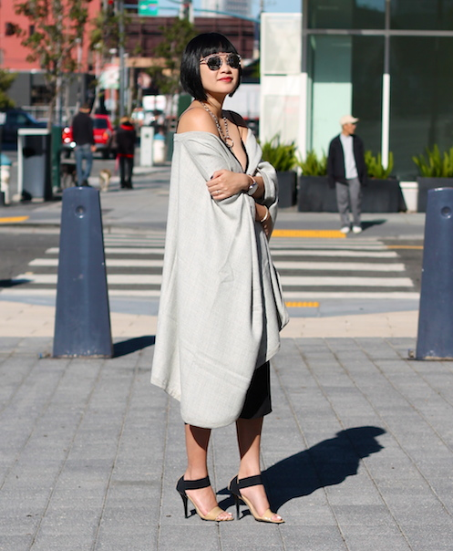 Babaton dress ,  cape c/o Cuyana , Michael Kors shoes,  Dior sunglasses