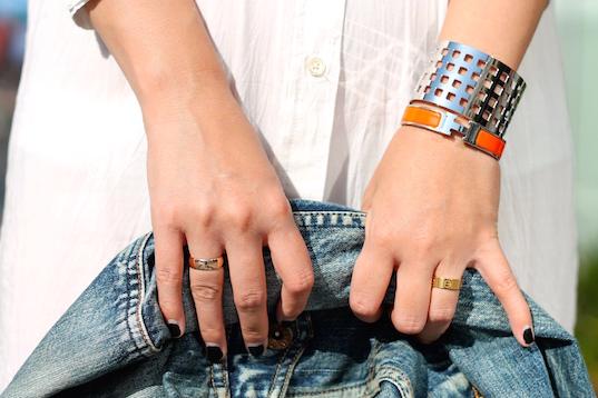 Svelte Metals cuff , Hermes bracelet, Cartier ring