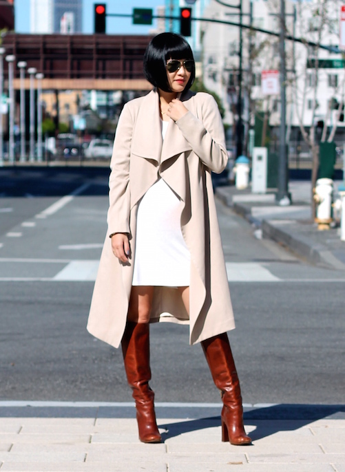 Club Monaco trench coat, Reformation dress, Tory Burch boots, Ray-Ban sunglasses