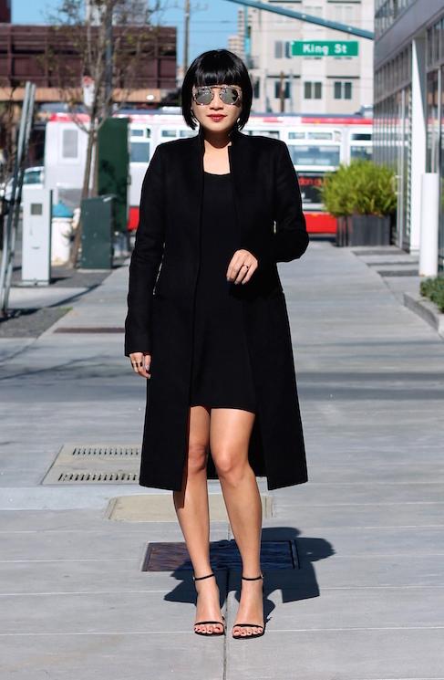 All Saints coat ,  Aritzia dress ,  Dior sunglasses ,  Stuart Weitzman heels