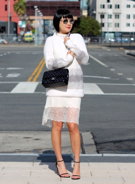 Club Monaco sweater, Aritzia dress, Stuart Weitzman heels, Chanel bag, Dior sunglasses