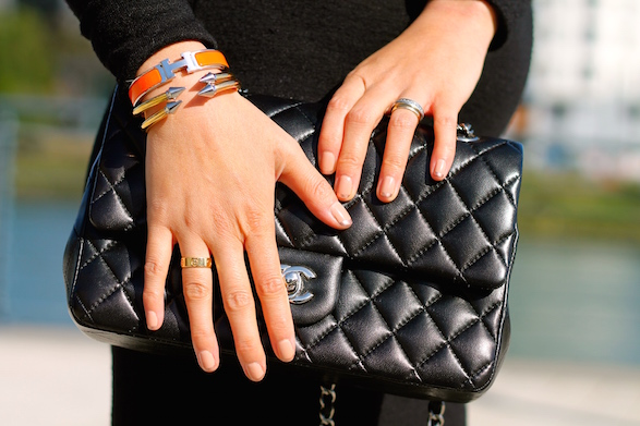 Hermes and Vita Fede bracelets, Chanel bag, Cartier and my own rings