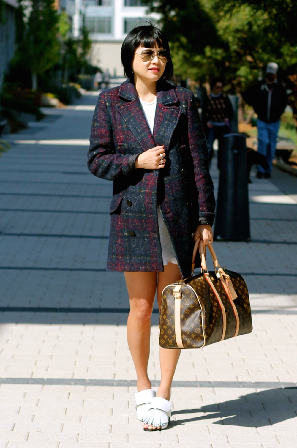 Zara coat, Aritzia dress, Louis Vuitton bag, Proenza Schouler shoes, Ray-Ban sunglasses