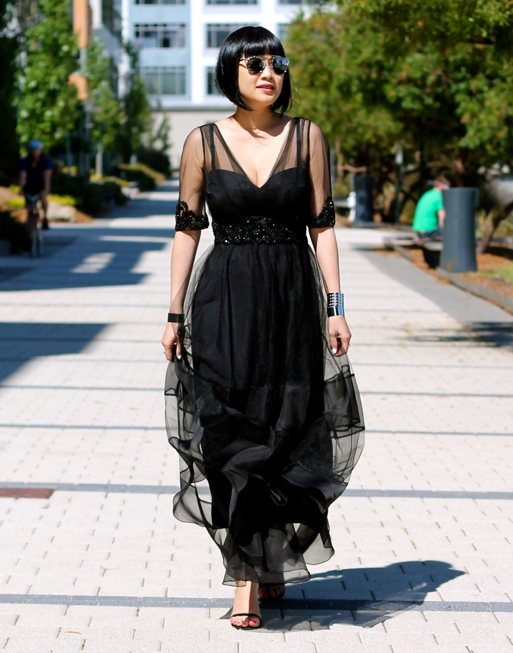 dress c/o Marchesa,  Christian Dior sunglasses ,  Stuart Weitzman shoes ,  Svelte Metals jewelry