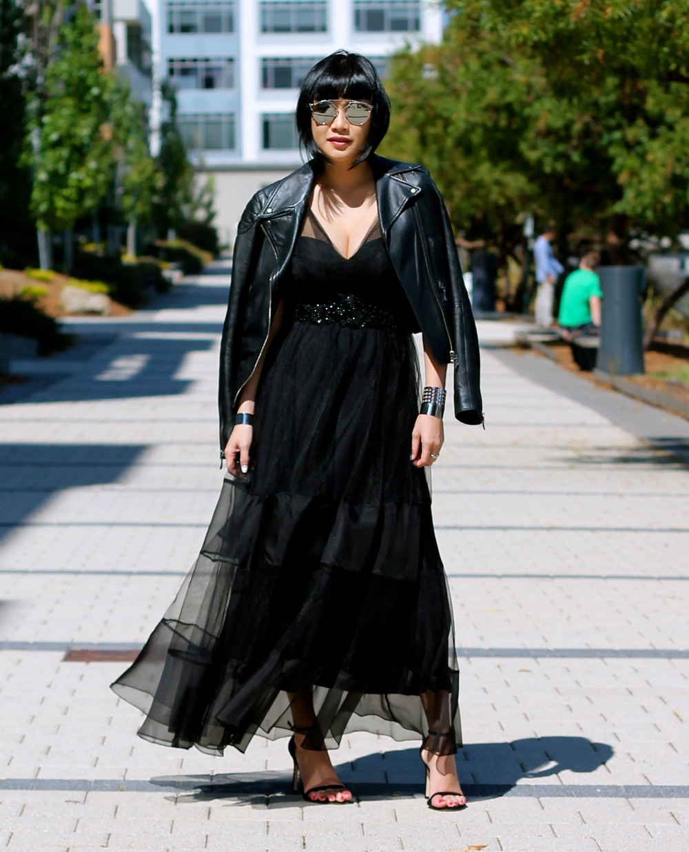 dress c/o Marchesa, Club Monaco leather jacket, Stuart Weitzman heels, Dior sunglasses, Svelte metals jewelry