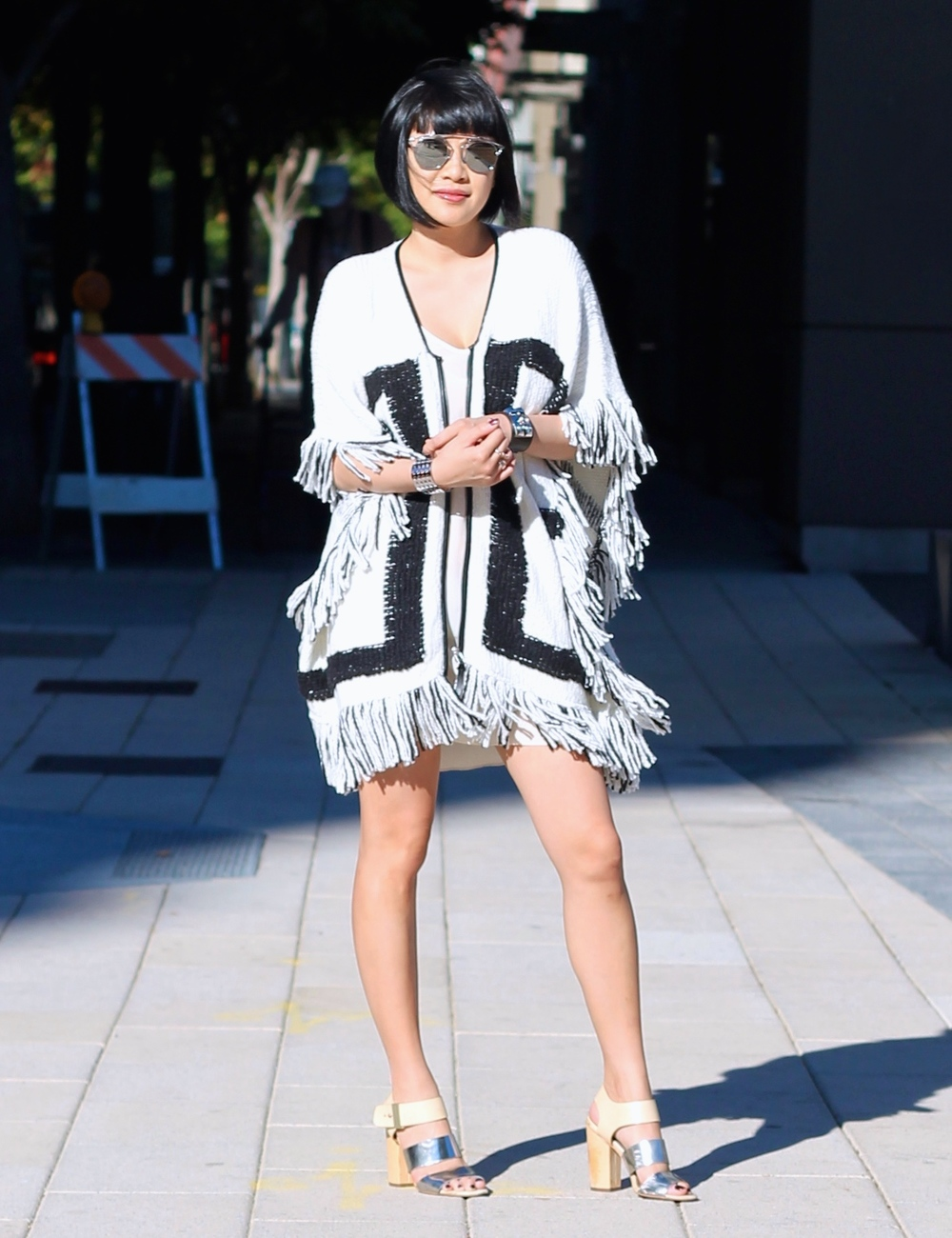 INC fringe sweater, Aritzia dress, Sam Edelman heels, Dior sunglasses