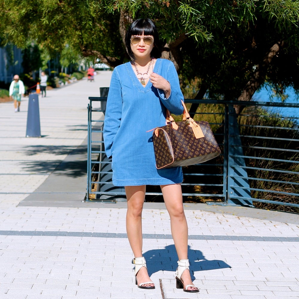 NC dress, Isabel Marant shoes, Louis Vuitton bag, Ray-Ban sunglasses