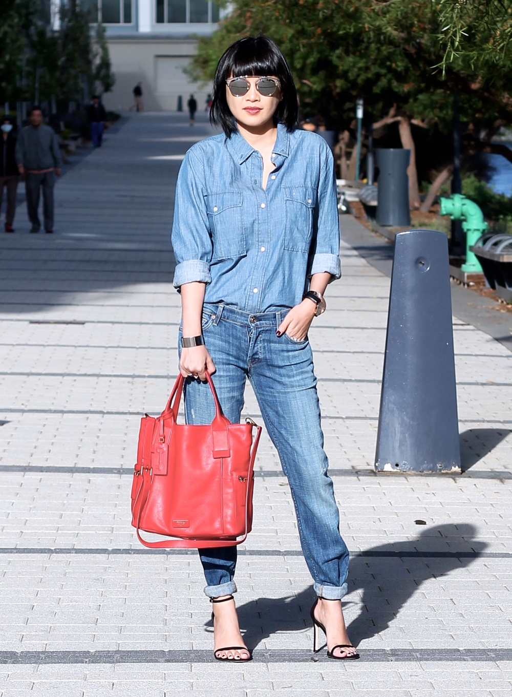 Fossil bag, Dior sunglasses, Aritzia chambray shirt, True Religion jeans.  Disclosure: this post was sponsored by Fossil through their partnership with POPSUGAR Select. While I was compensated to write a post about Fossil Product, all opinions are my own.