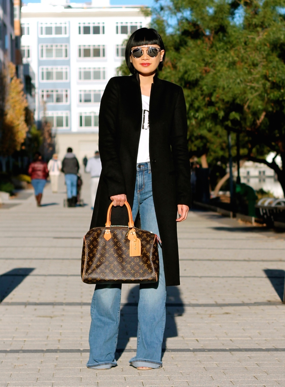 All Saints coat, Banana Republic jeans, Club Monaco tshirt, Louis Vuitton bag, Dior sunglasses