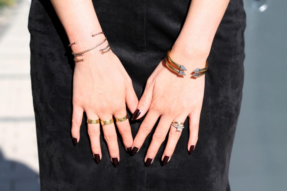 Svelte Metals, Vita Fede bracelets, my own rings