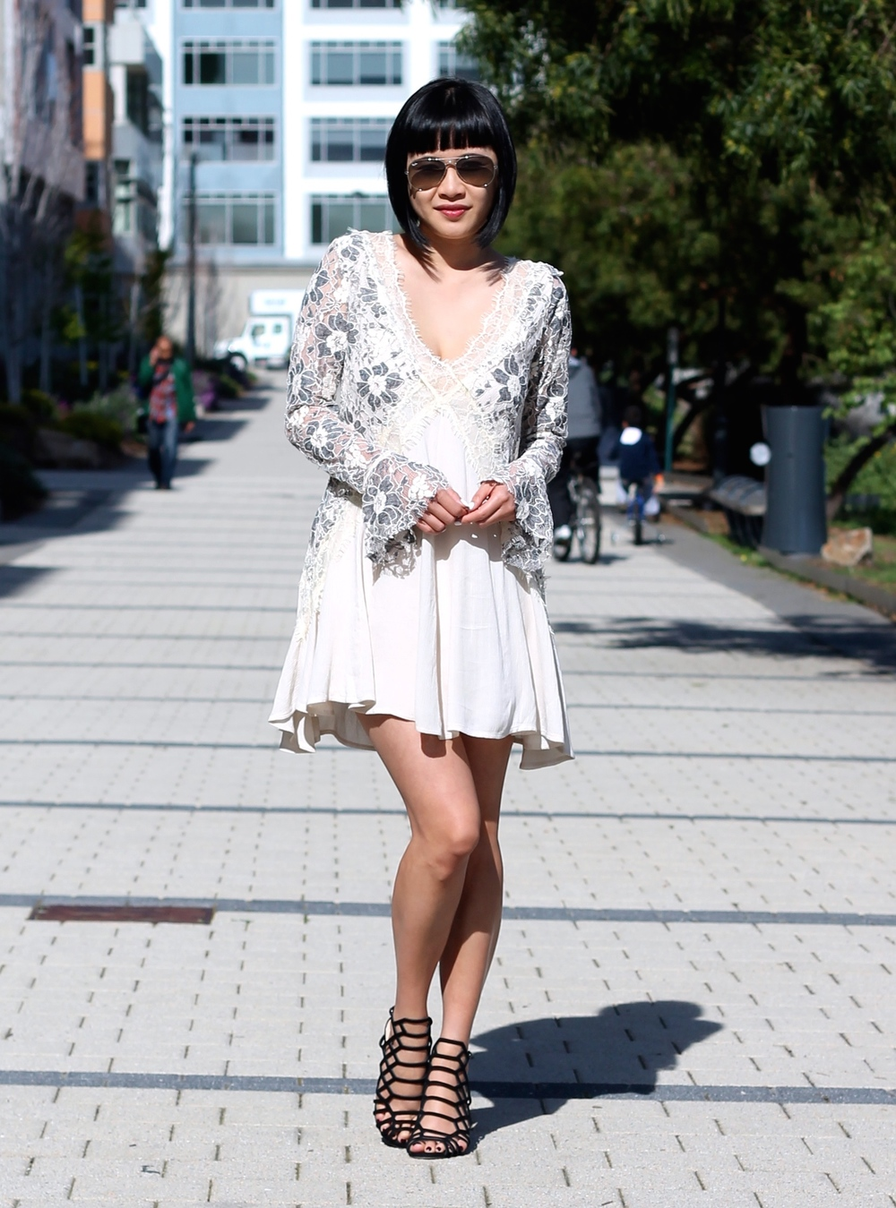 Tularosa dress, Vince Camuto heels, Ray Ban sunglasses