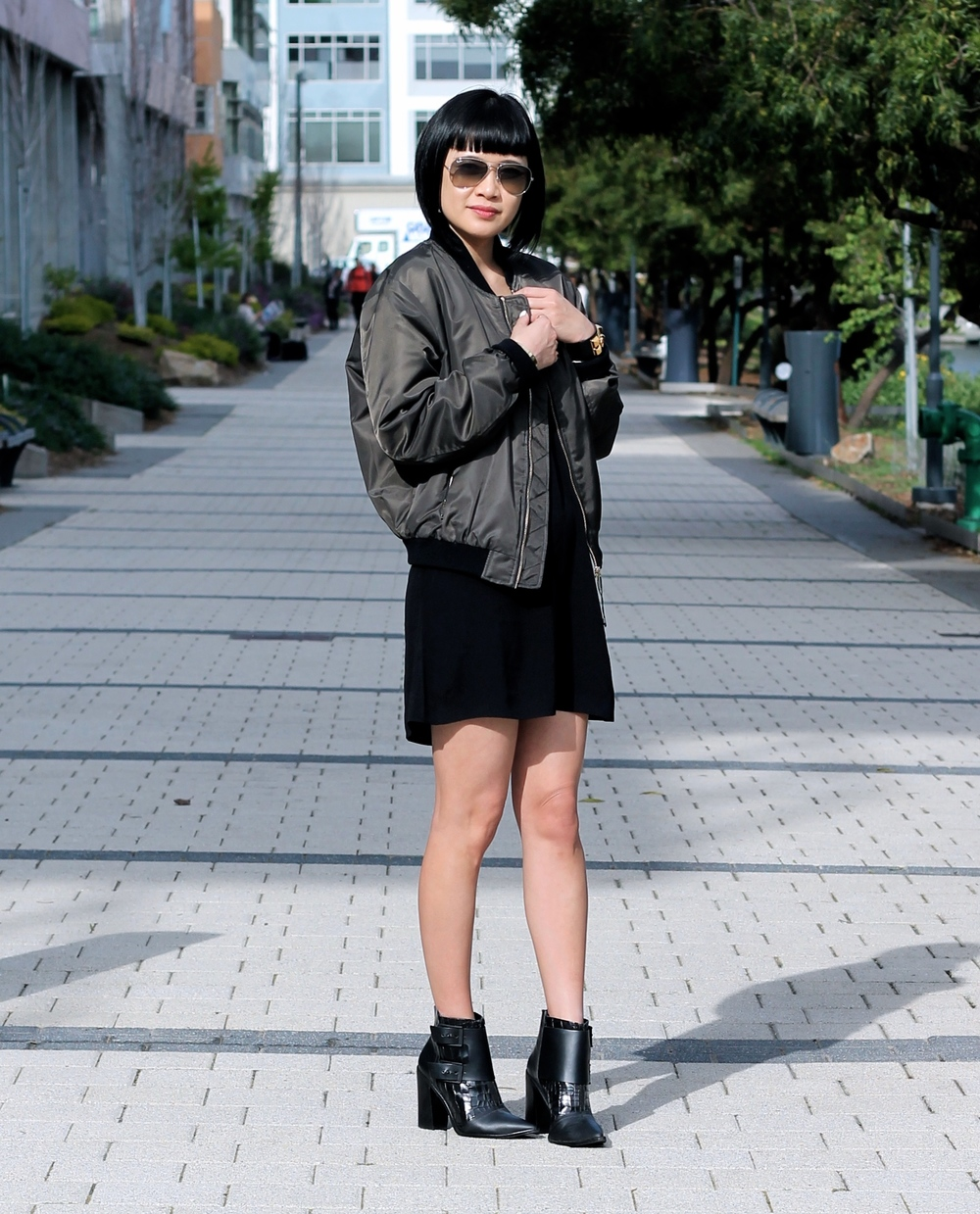 Zara jacket, Aritzia dress, Tibi booties, Ray Ban sunglasses