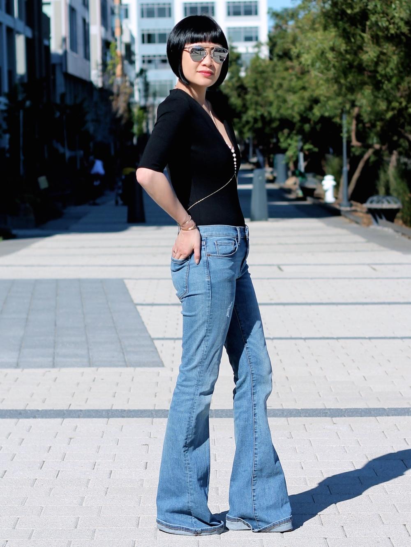 Aritizia bodysuit ,  Banana Republic jeans ,  Isharya body chain , Dior sunglasses