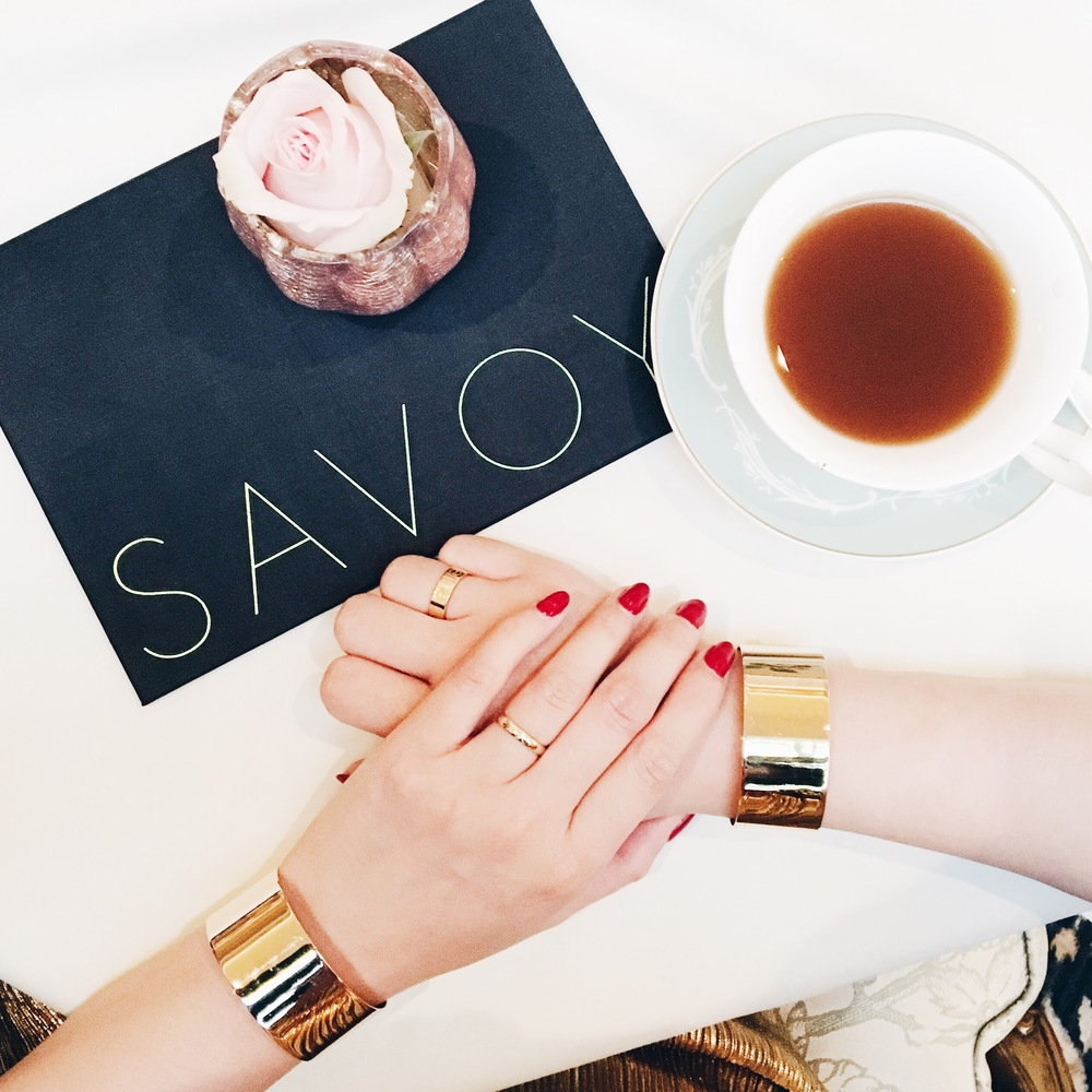 Svelte Metals cuffs, Cartier and my own rings