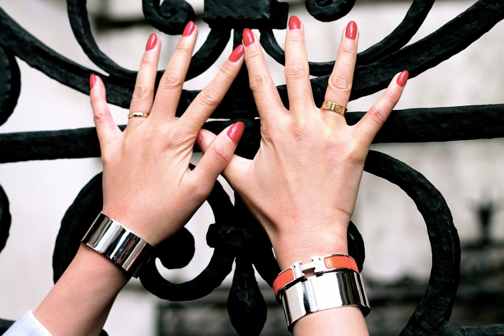 Svelte Metals cuffs, Hermes bracelet, Cartier ring