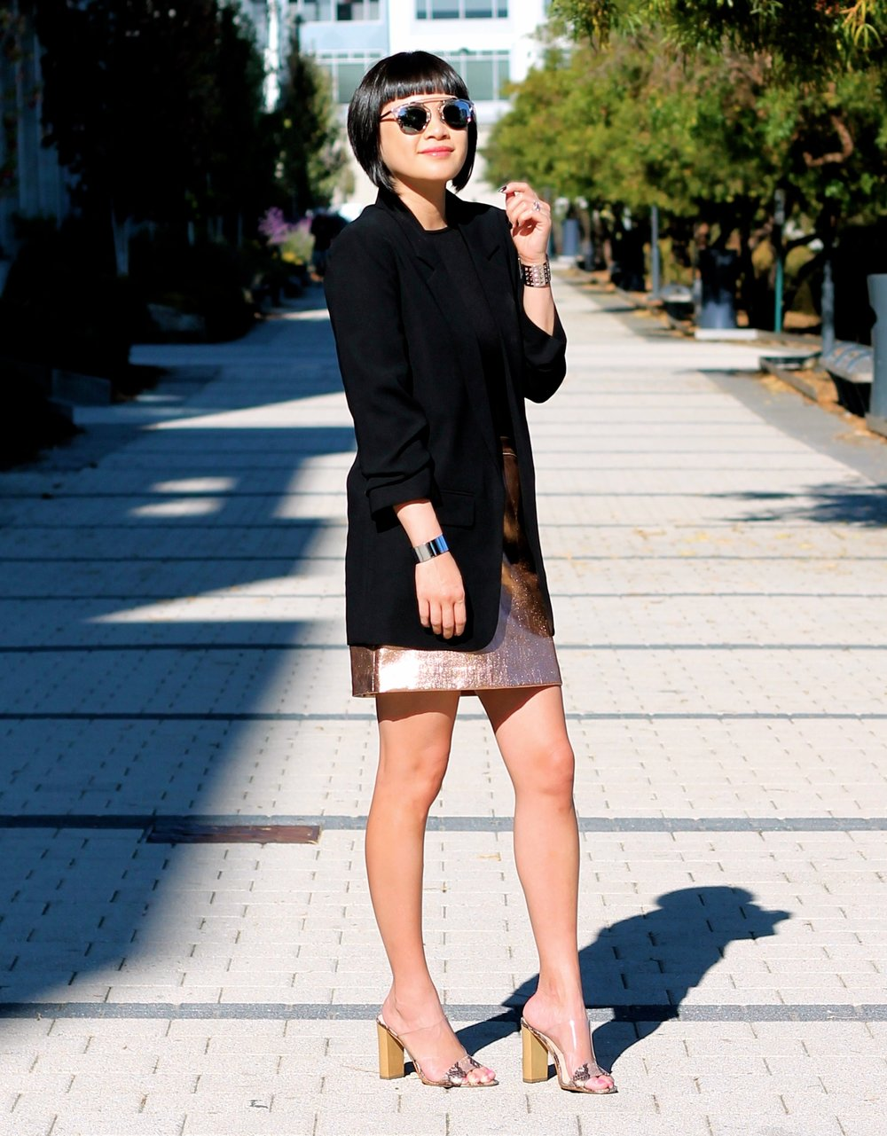 Asos blazer, Aritizia bodysuit, Club Monaco skirt, Guess shoes, Dior sunglasses, Svelte Metals cuffs