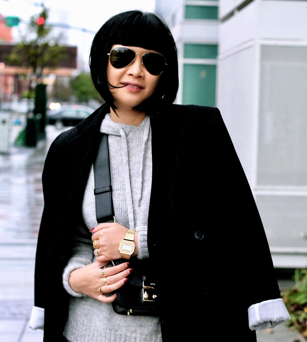 Casio watch at Bloomingdale's SF, Furla bag, Whyred coat, Ray-Ban sunglasses, H&M sweater