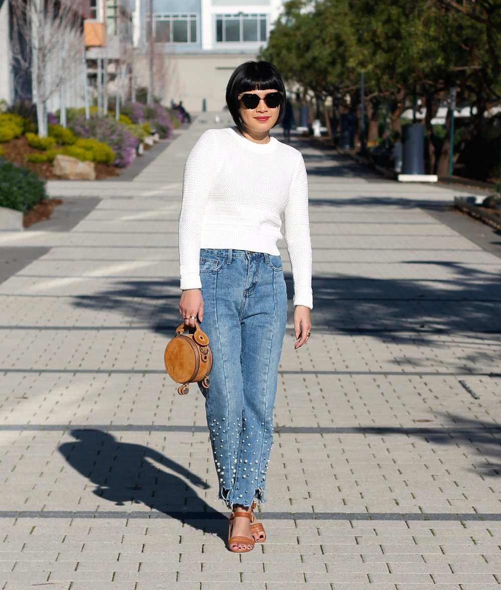 Hair by Sassoon Salon, Aritzia sweater, Storets jeans, Dolce Vita shoes, Carven bag, Fendi sunglasses
