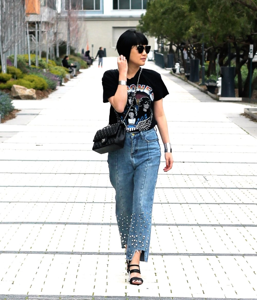 Zara shirt, Storets jeans, Zara shoes, Fendi sunglasses, Chanel bag, Svelte Metals bracelets
