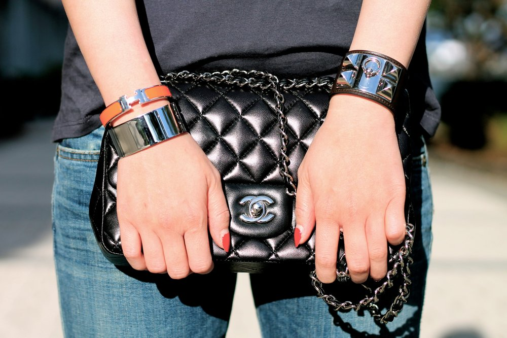 Svelte Metals and Hermes bracelets, Chanel bag