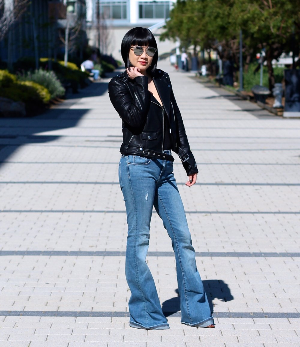 Hair by Sassoon Salon, Zara jacket, Banana Republic jeans, Dior sunglasses