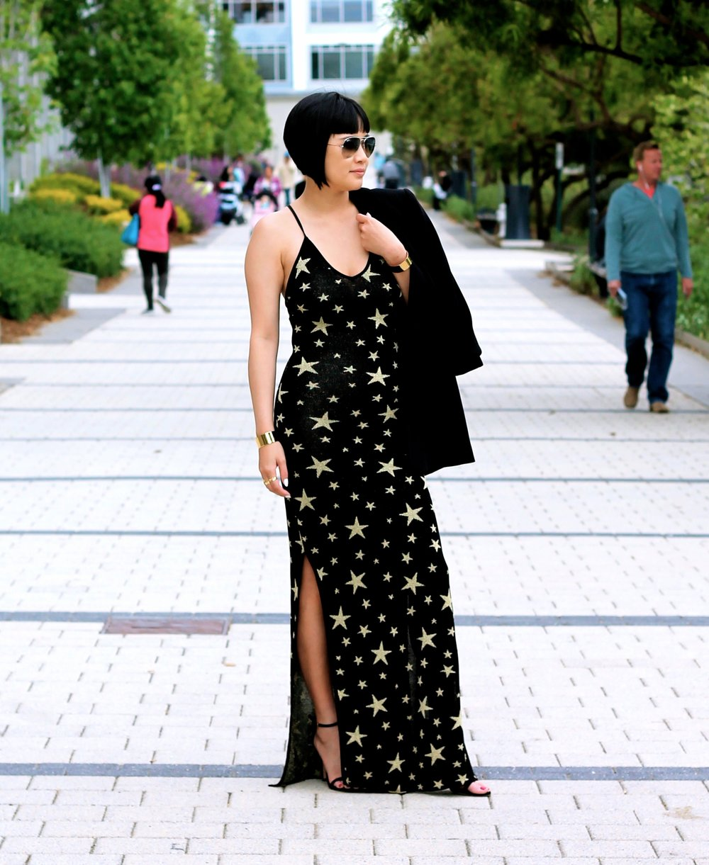 House of Harlow dress, Asos jacket, Stuart Weitzman shoes, Ray-Ban sunglasses, Svelte Metals cuffs