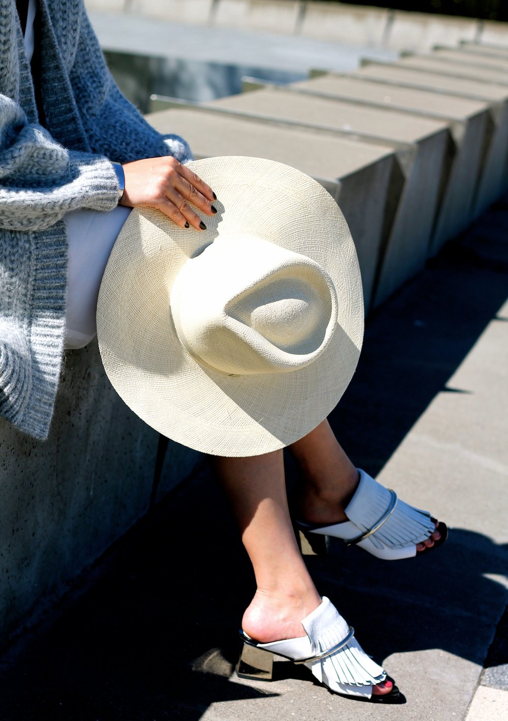 Cuyana hat, Proenza Schouler shoes