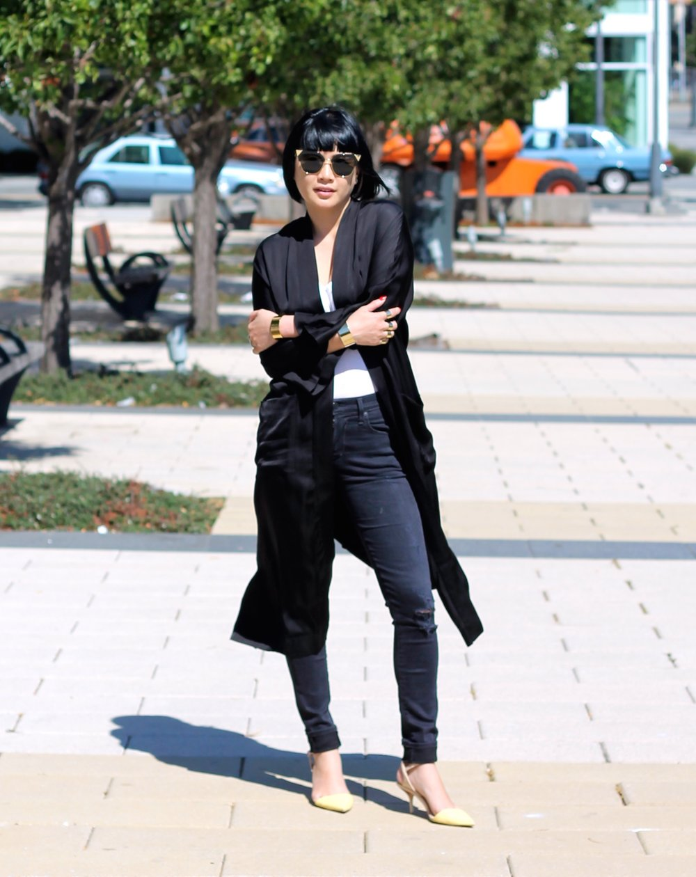 Aritzia duster jacket, Citizens of Humanity jeans, Club Monaco top, Fendi Sunglasses, Zara shoes, Svelte Metals cuffs