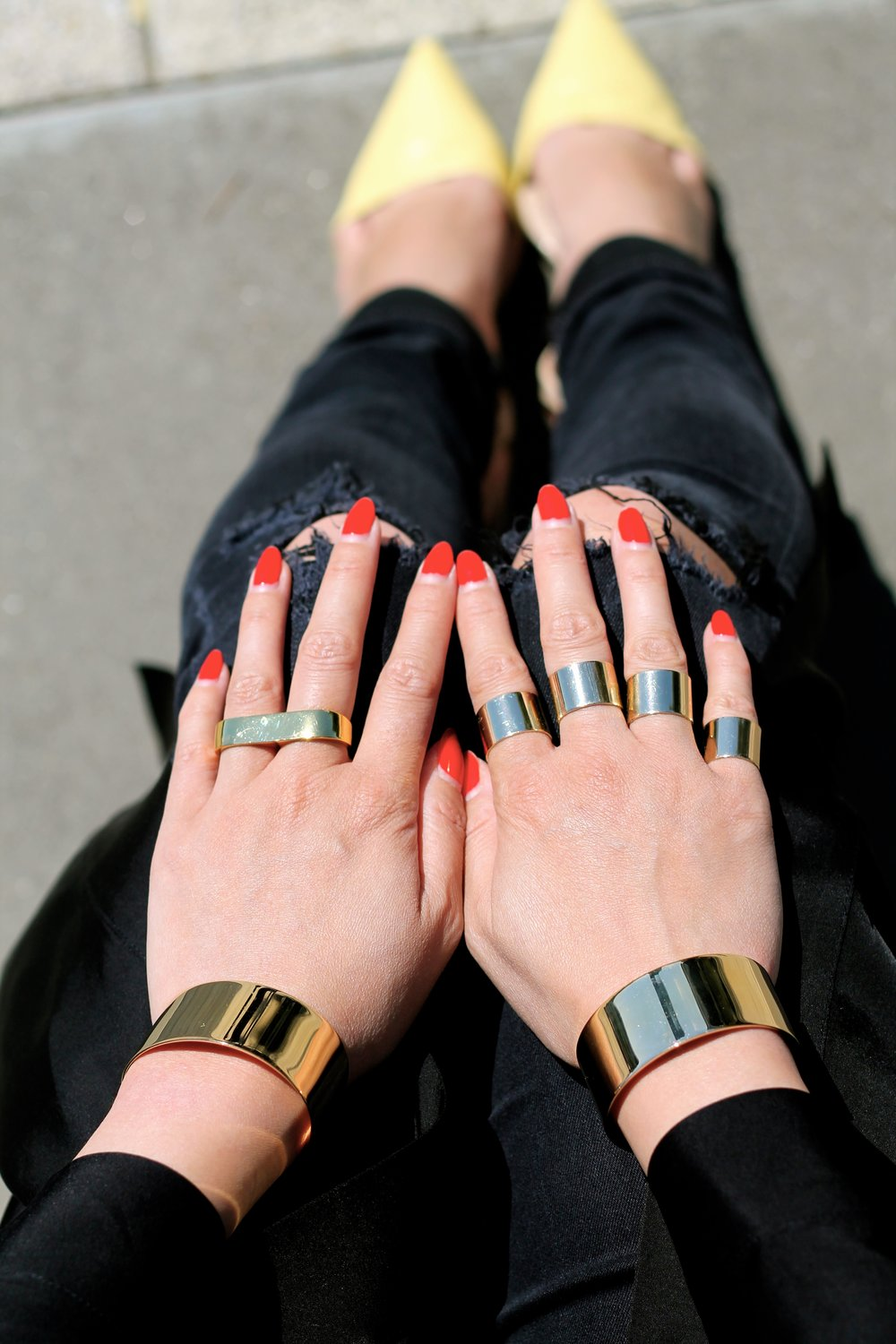 Svelte Metals cuffs ,  Maison Margiela  and  Erica Annenberg rings