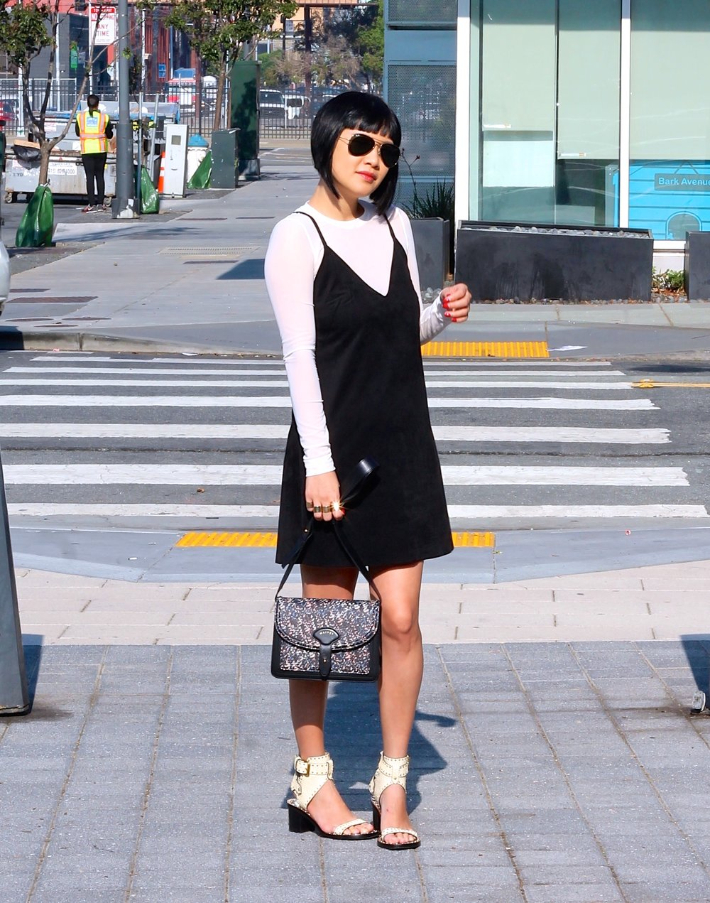 Aritzia dress and tshirt, Maiyet bag, Isabel Marant shoes, Ray-Ban sunglasses