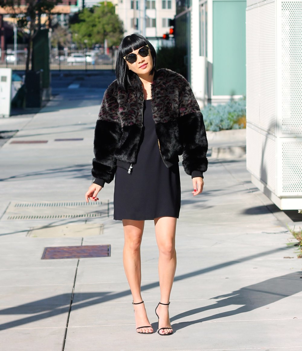Aritzia jacket and dress, Stuart Weitzman shoes, Fendi Sunglasses